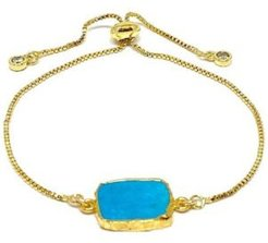 Gold Plated Pull Chain Bracelet with Electroform Stone