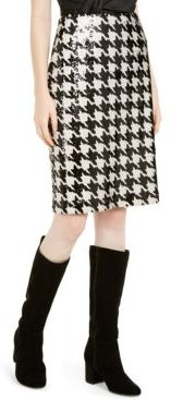 Inc Petite Sequinned Houndstooth Pencil Skirt, Created For Macy's