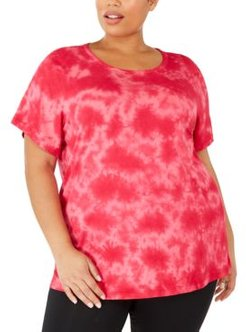 Plus Size Tie-Dyed Keyhole Top, Created For Macy's