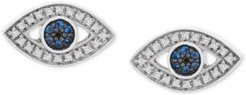 Diamond Evil Eye Stud Earrings (1/8 ct. t.w.) in 14k White Gold, Created for Macy's