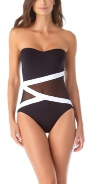 Colorblocked Mesh Strapless One-Piece Swimsuit Women's Swimsuit