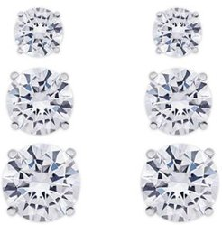 Cubic Zirconia 3-Pc. Set Graduated Round Stud Earrings in Fine Silver Plate