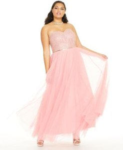 Trendy Plus Size Embellished Embroidered Tulle Gown