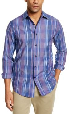 Stretch Dobby Plaid Woven Shirt, Created For Macy's