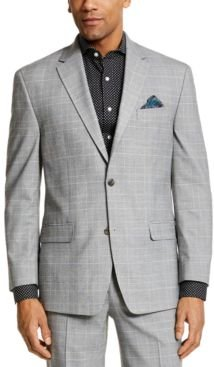 Classic-Fit Black and Yellow Plaid Suit Separate Jacket