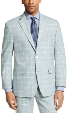 Classic-Fit Green Windowpane Suit Separate Jacket
