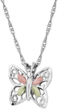 Butterfly Pendant in Sterling Silver with 12k Rose and Green Gold