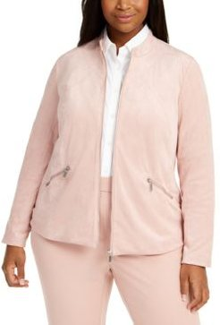 Plus Size Faux-Suede Zip Jacket, Created For Macy's