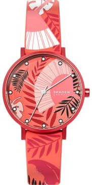 Aaren Three-Hand Floral Print Coral Silicone Watch 36mm
