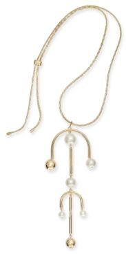 "Gold-Tone Imitation Pearl Mobile 30"" Adjustable Pendant Necklace, Created for Macy's"