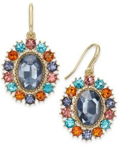 Gold-Tone Crystal & Oval Stone Drop Earrings, Created For Macy's