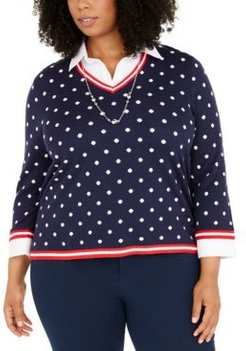 Plus Size Ship Shape Polka-Dot Two-For-One Necklace Sweater