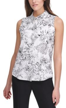 Floral Button-Up Sleeveless Blouse