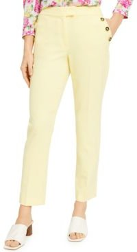 Buttoned Slim Straight-Leg Dress Pants, Created for Macy's