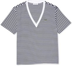 Striped Cotton-Jersey V-Neck T-Shirt