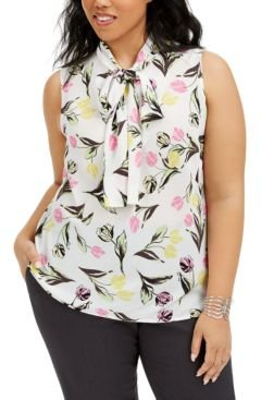 Trendy Plus Size Tie-Neck Top, Created for Macy's
