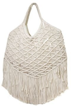 Macrame Woven Bag in Cotton with Cotton Fringe Details