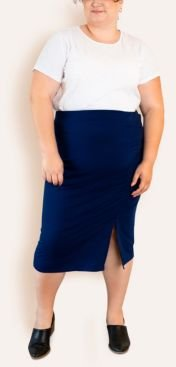 Plus Size French Terry Pencil Skirt