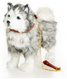 Husky Puppy Dog with Collar and Leash Doll with Pet Accessory