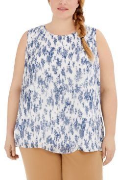 Plus Size Floral-Print Split-Hem Pleated Blouse, Created for Macy's