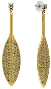 T.r.u. by 1928 14 K Gold Dipped Feather Hand Set Pave Drop Earring with Swarovski Crystals