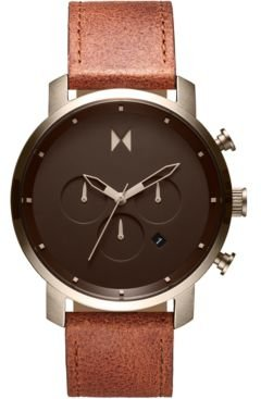 Chronograph Nomad Land Brown Leather Strap Watch 45mm