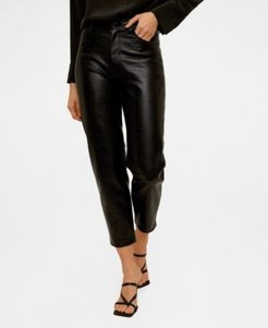 Croc Effect Faux Leather Trousers