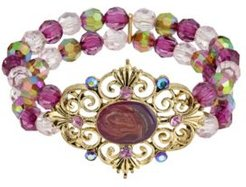 2028 Gold-Tone Purple and Brown Beaded Stretch Bracelet