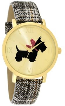 Scottie Dog Black Plaid Strap Watch 40mm, Created for Macy's
