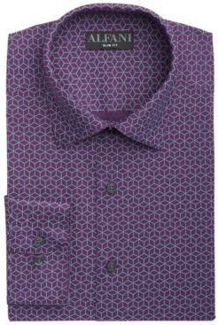 Alfatech Slim-Fit Performance Stretch Wrinkle-Resistant Moisture-Wicking Pyramid Line-Print Dress Shirt, Created for Macy's