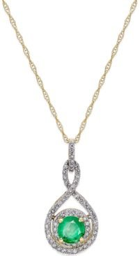 """Emerald (1/2 ct. t.w.) and Diamond (1/4 ct. t.w.) 18"""" Necklace in 14k Yellow Gold"""