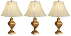 Set of 3 Faux Wood Column Lamps, Created for Macy's