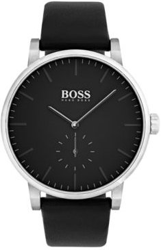 Essence Black Leather Strap Watch 42mm 1513500