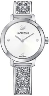 Swiss Cosmic Rock Crystal Silver-Tone Bracelet Watch 29mm