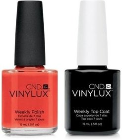 Creative Nail Design Vinylux Electric Orange Nail Polish & Top Coat (Two Items), 0.5-oz, from Purebeauty Salon & Spa