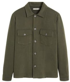 Pockets stretch cotton jacket khaki - S - Men