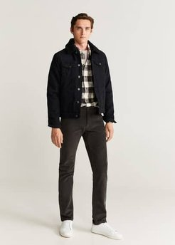 Faux shearling-lined denim jacket black denim - XL - Men
