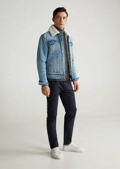 Faux shearling-lined denim jacket light blue - M - Men