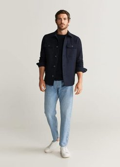 Pocket linen cotton jacket dark navy - M - Men