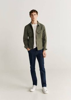 Colour denim jacket khaki - S - Men