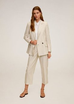 Striped linen blazer beige - L - Women