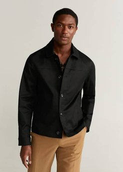 Buttoned cotton jacket black - M - Men