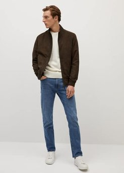 Faux-suede biker jacket khaki - M - Men