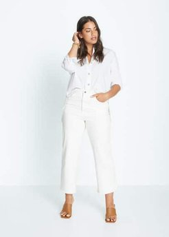 Mid waist culotte jeans white - 12 - Plus sizes