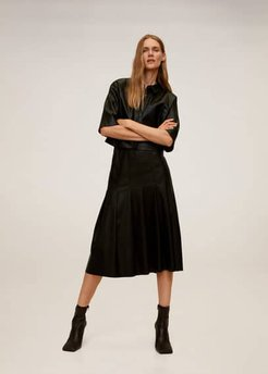Faux-leather pleated skirt black - XS - Women