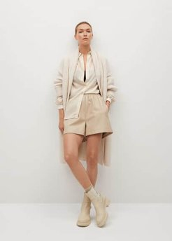 Oversize striped shirt beige - 4 - Women