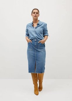 Midi denim skirt medium blue - M - Plus sizes