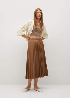 Faux-leather pleated skirt medium brown - S - Women
