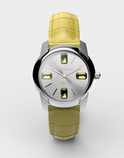 Watch With Alligator Strap Yellow