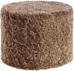 Short Wool Curly Pouf - Taupe